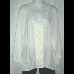 Tiny Blouse By Anthropologie Ivory Sequin Sz M